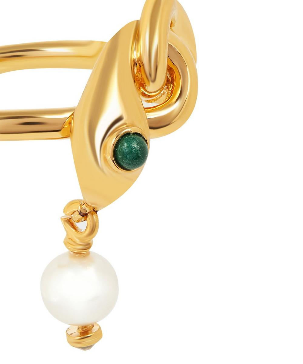 Gold-Tone Callie Snake Faux Pearl Drop Ring