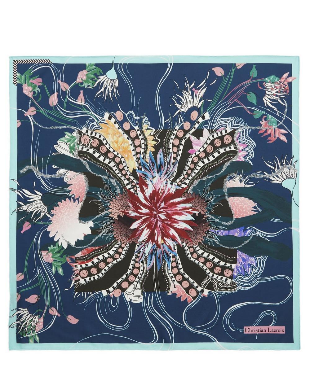 Ocean Blooms Floral Silk Scarf