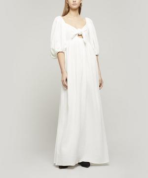 Violet Tie-Front Cotton Maxi-Dress