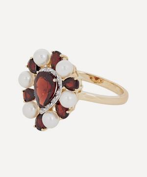 Gold Woman in Red Pearl and Garnet Ring