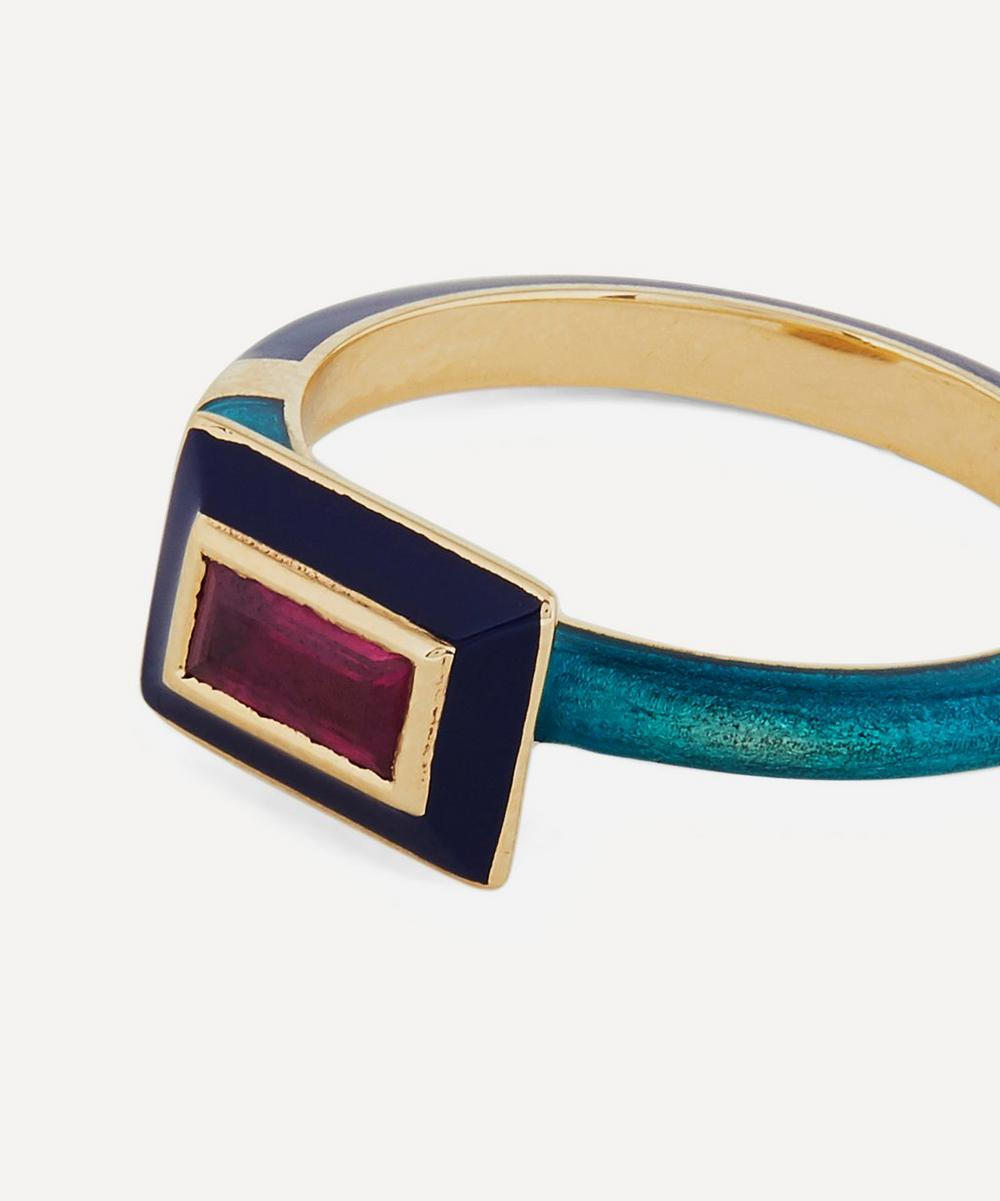 Gold Candy Lacquer Baguette Ruby Ring