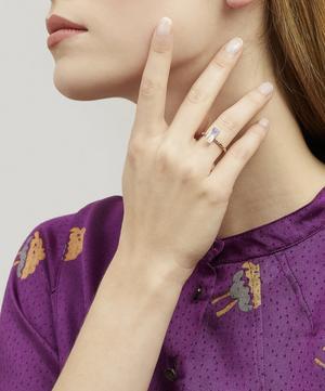 Gold Memphis Bubble Pavé Baguette Rose Quartz Ring