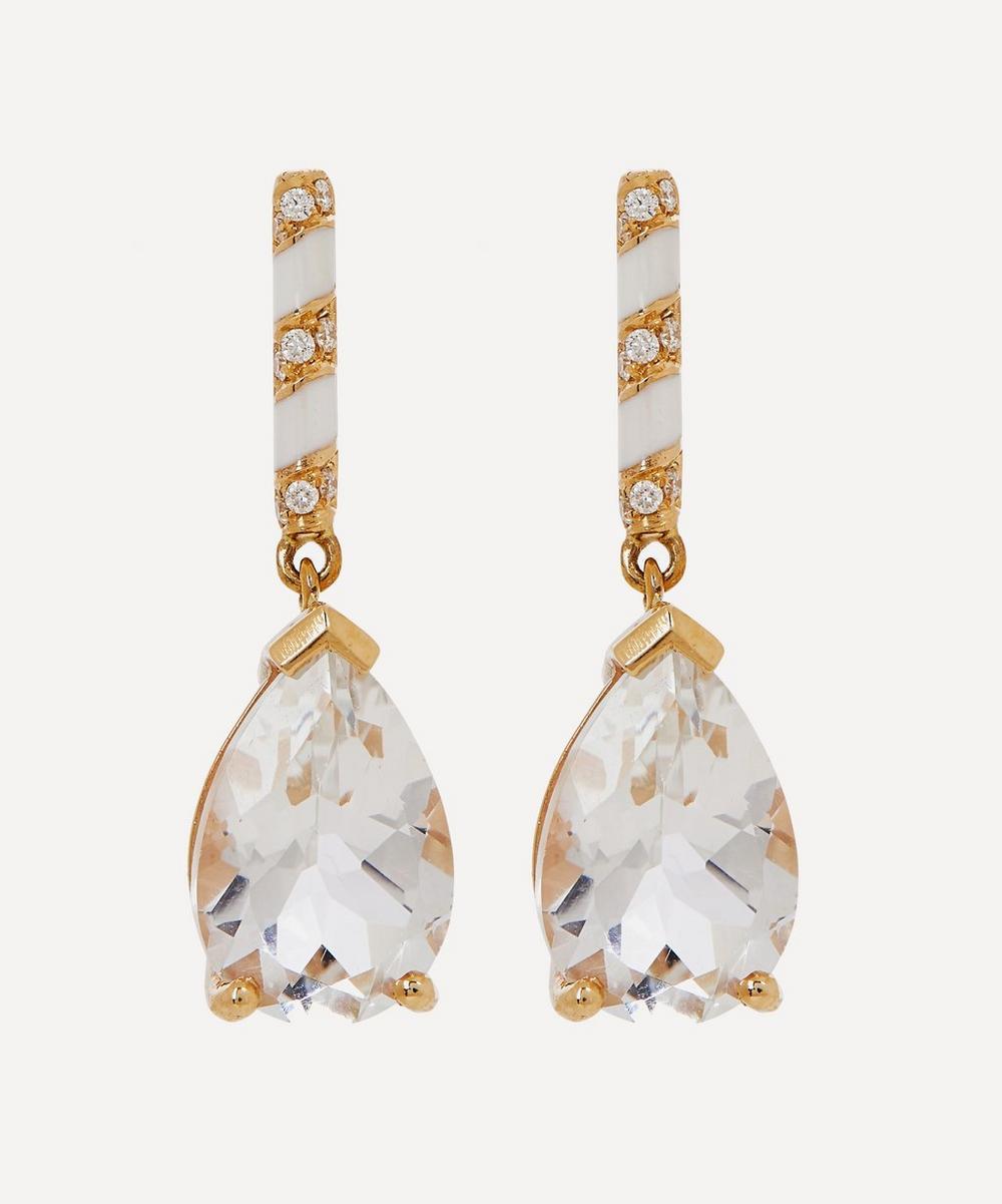 Gold Memphis Candy Pavé White Topaz and Diamond Drop Earrings