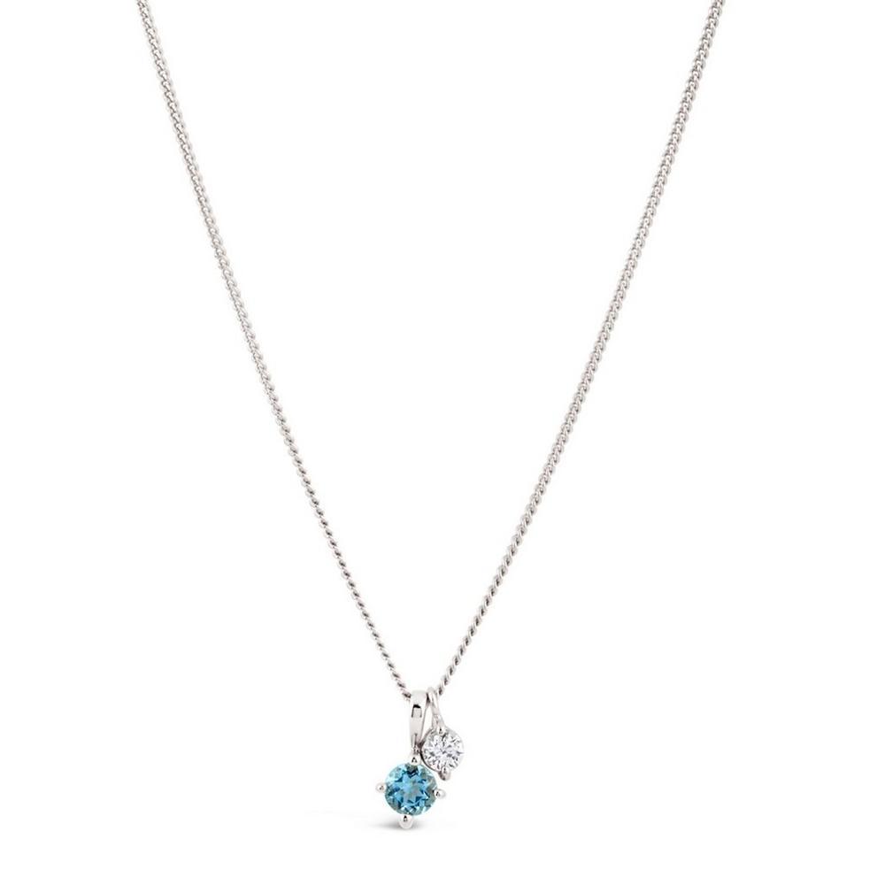 Silver Gem Drop Blue Topaz and White Sapphire Duo Pendant Necklace