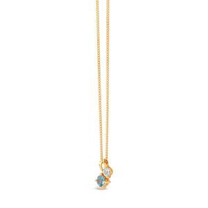 Gold Vermeil Gem Drop Blue Topaz and White Sapphire Duo Pendant Necklace