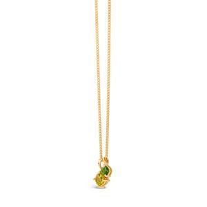 Gold Vermeil Gem Drop Peridot and Tsavorite Duo Pendant Necklace
