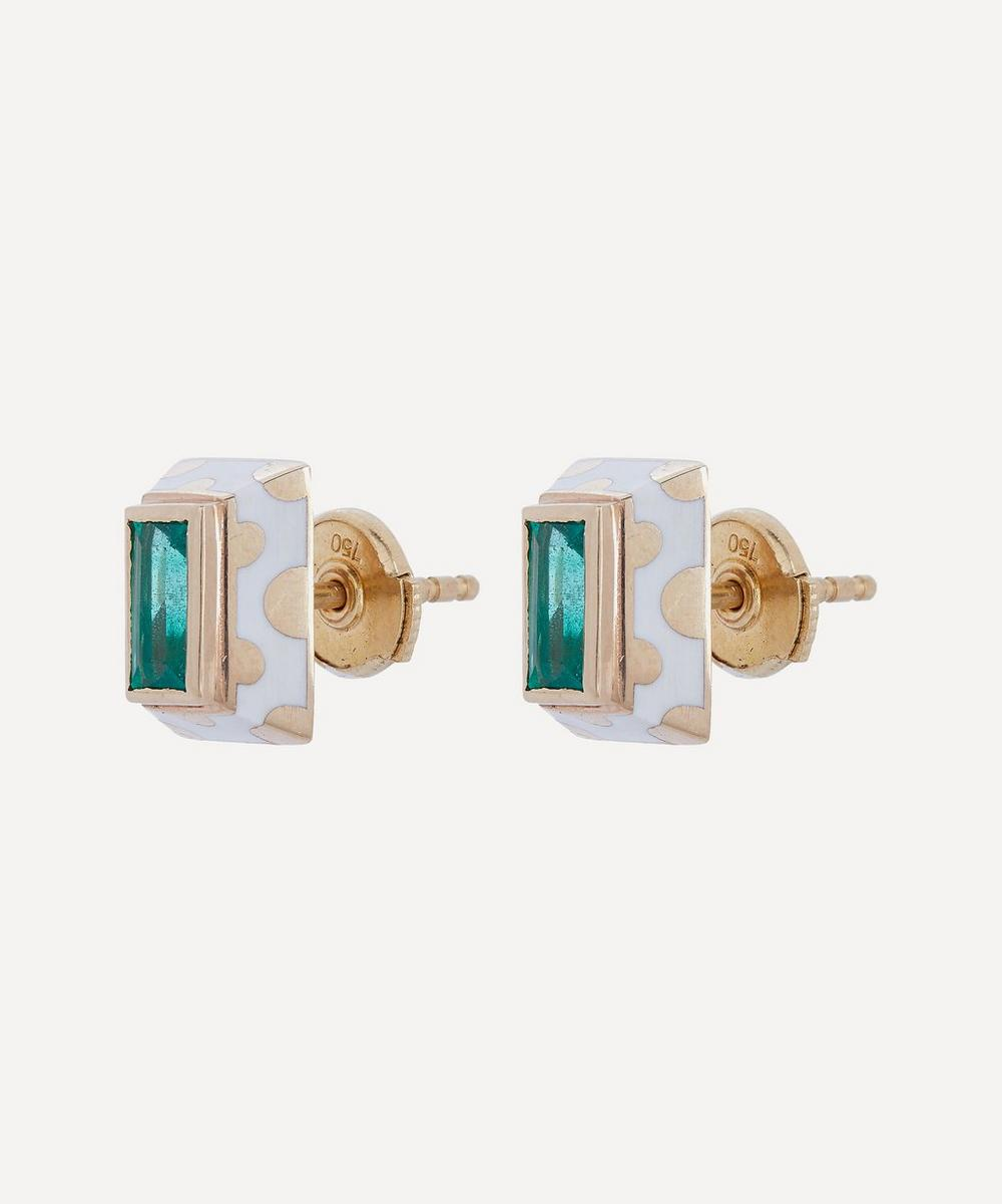 Gold Memphis Dot Baguette Emerald Stud Earrings