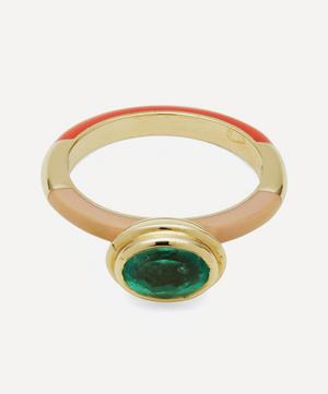 Gold Candy Lacquer Oval Water Emerald Ring