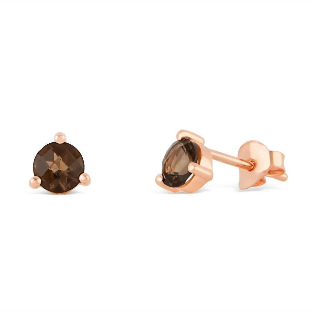 Rose Gold Vermeil Gem Drop Smoky Quartz Stud Earrings