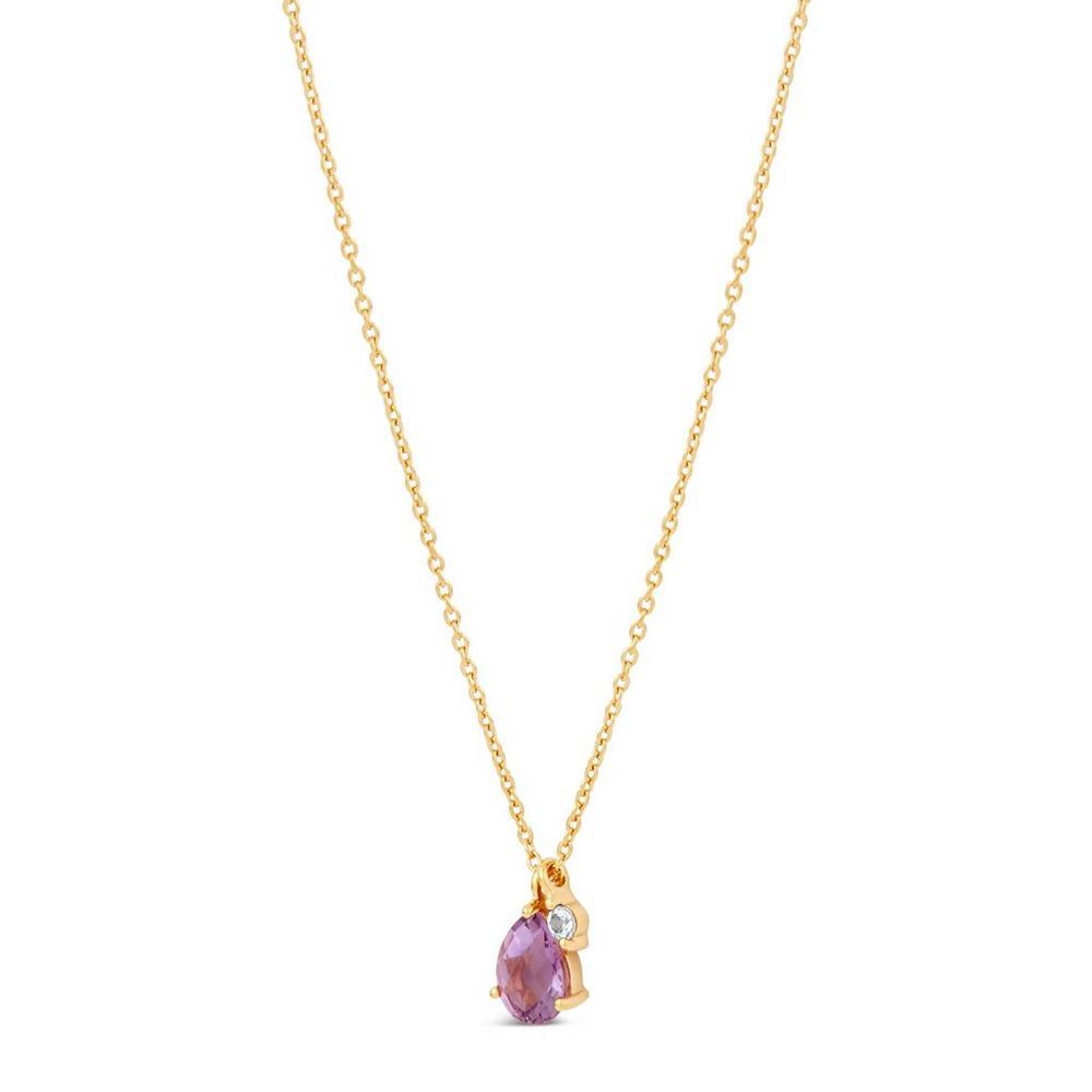 Gold Vermeil Gem Drop Amethyst and White Sapphire Pendant Necklace