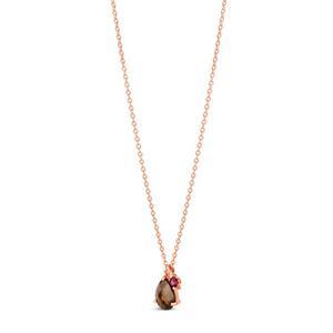 Rose Gold Vermeil Gem Drop Smoky Quartz and Rhodolite Pendant Necklace