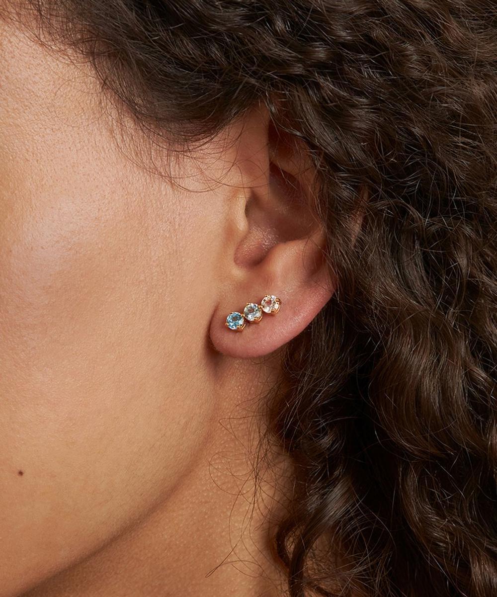 Gold Vermeil Gem Drop Trilogy Topaz Bar Stud Earrings