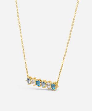 Gold Vermeil Gem Drop Topaz Bar Necklace