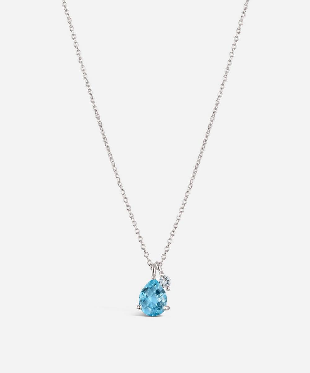 Silver Gem Drop Blue Topaz and White Sapphire Pendant Necklace