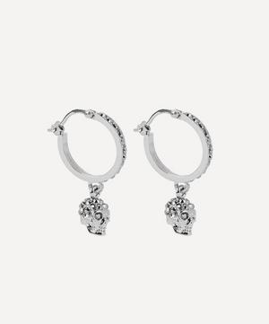Gold-Tone Crystal Skull Hoop Earrings