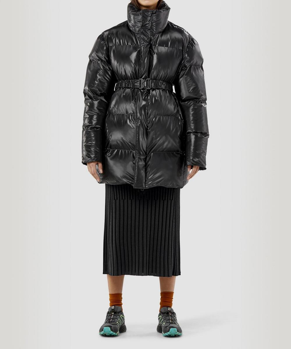 Rains Belted Puffer Coat In Black