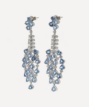 White Gold Aquamarine and Diamond Drop Earrings