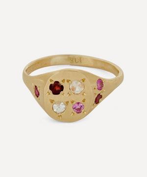 Gold Neapolitan Multi-Stone Signet Ring