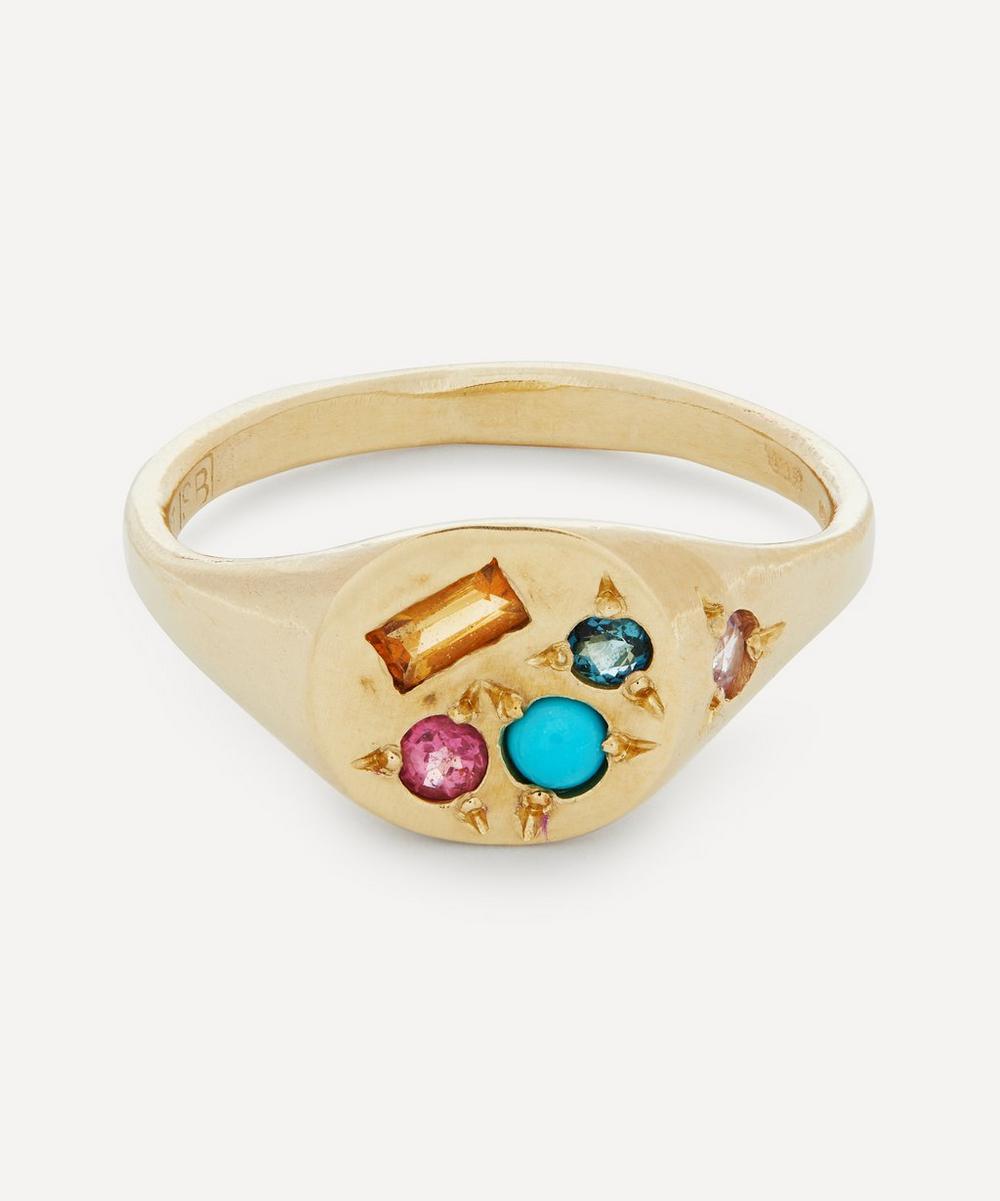 Seb Brown - 9ct Gold Neapolitan Multi-Stone Signet Ring