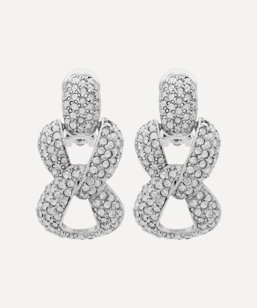 Oscar De La Renta Pavrystal Chain-Link Earrings In White