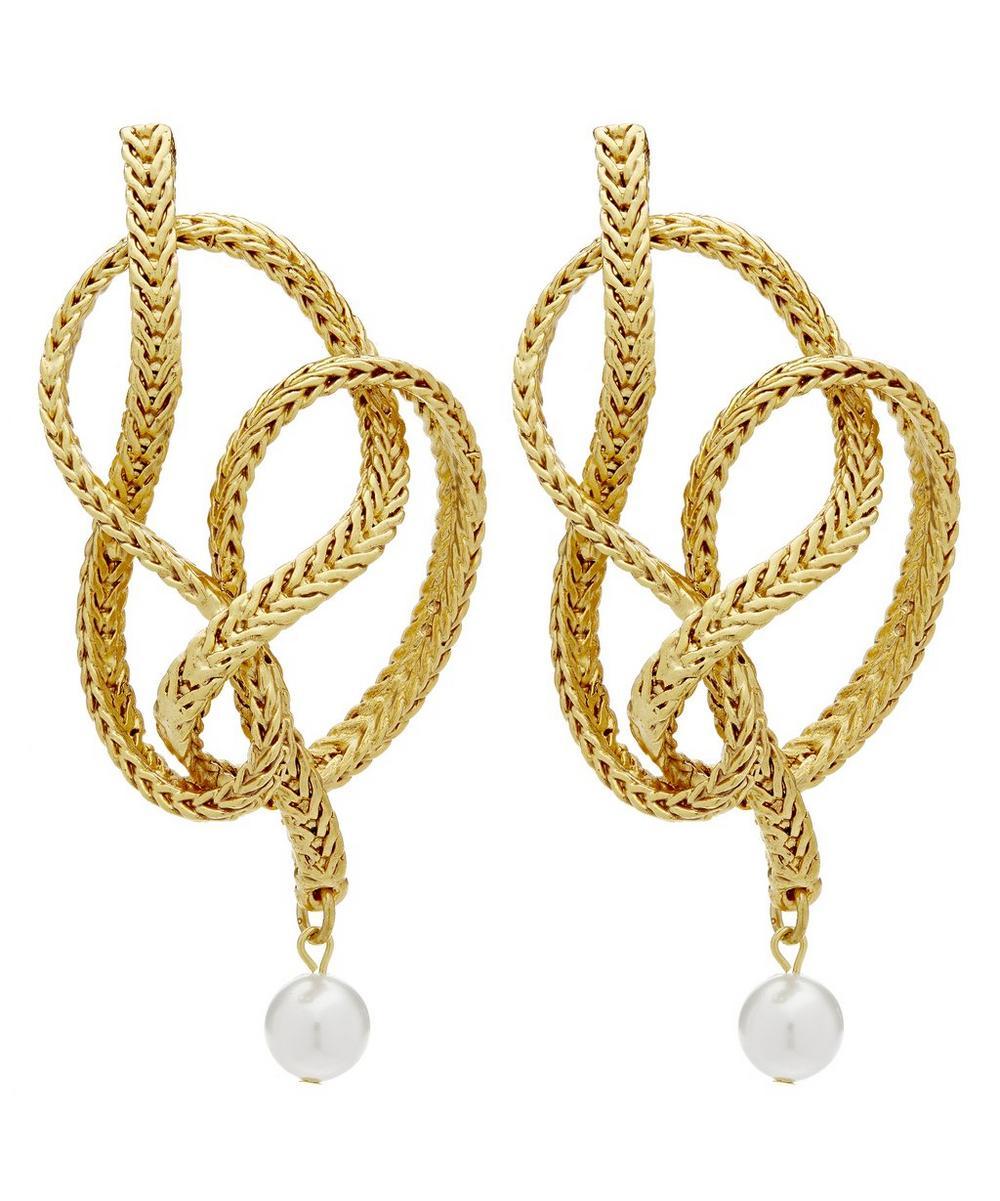 Oscar De La Renta Braided Chain Earrings In Gold