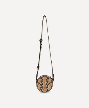 Snake Effect Zip Shoulder Bag
