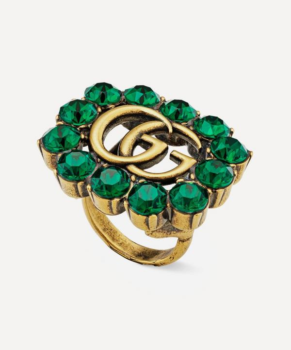 Gold-Tone Green Crystal Double G Ring