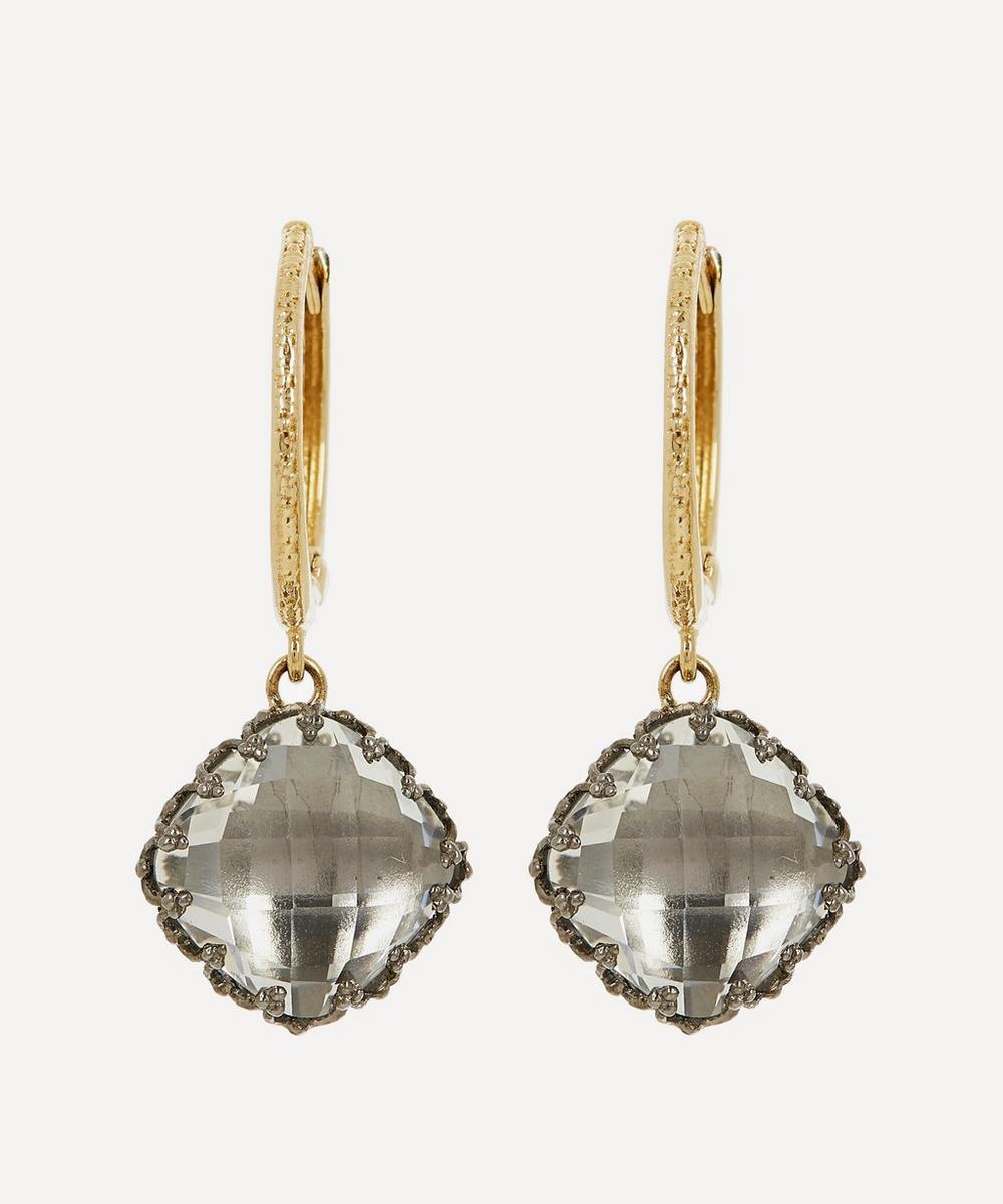 Gold and Silver Lady Antoinette White Quartz Huggie Hoop Earrings