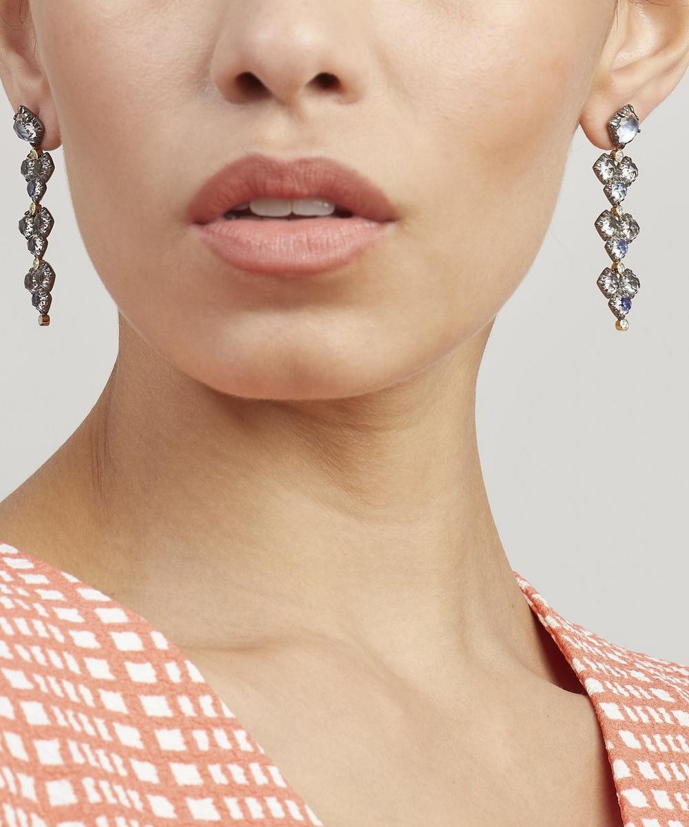 Rhodium-Plated Silver Sadie Cluster White Quartz Four-Drop Earrings