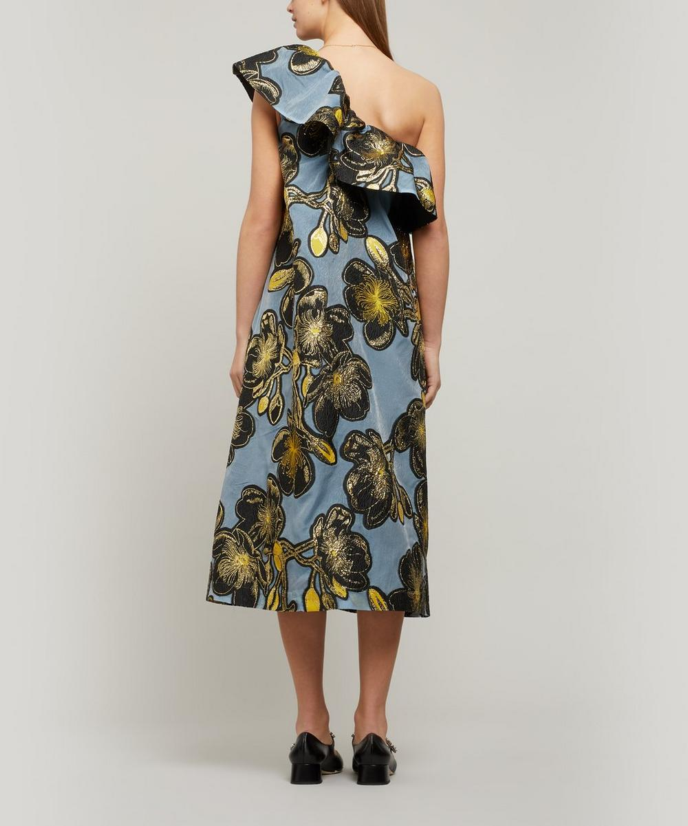 Olive Organza One-Shoulder Dress