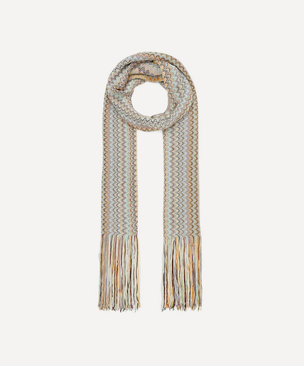 Vertical Zig Zag Stripe Cotton-Blend Scarf