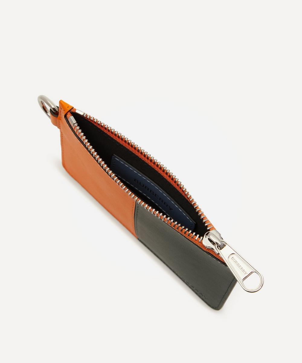 Colour Block Leather Zip Coin Case