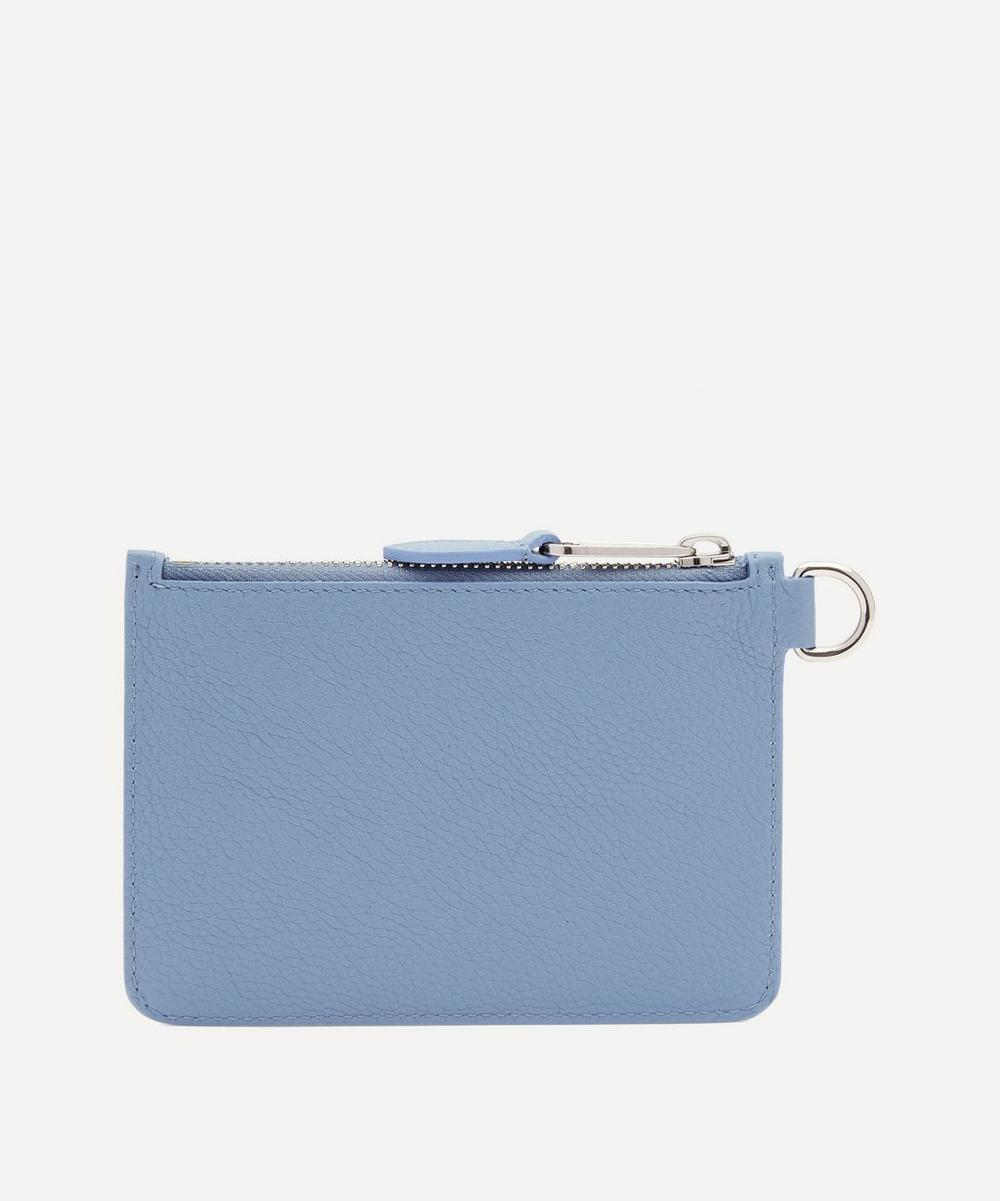 Logo Graphic Leather Zip Coin Case