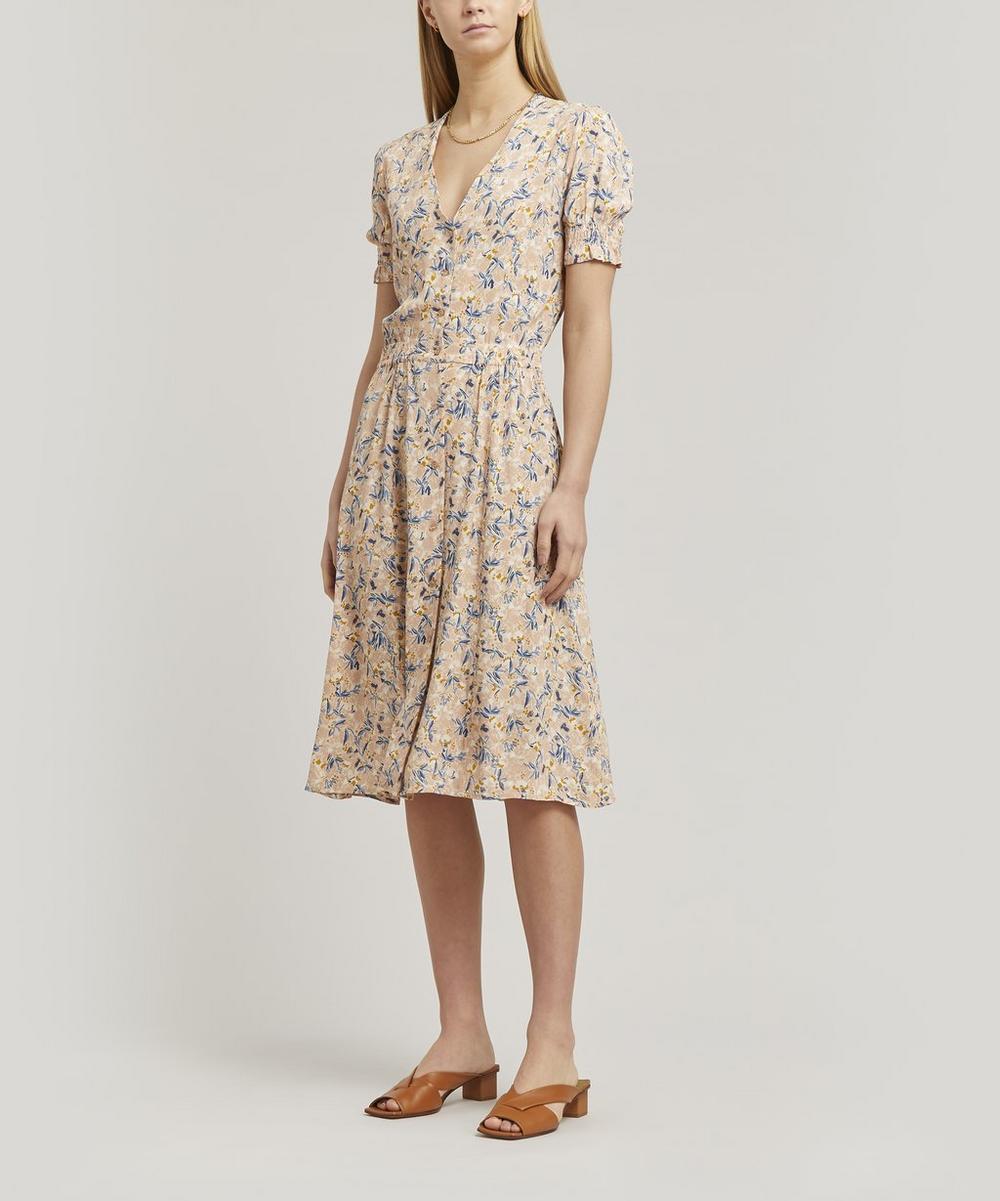 Madoura Flounce-Sleeve Midi-Dress