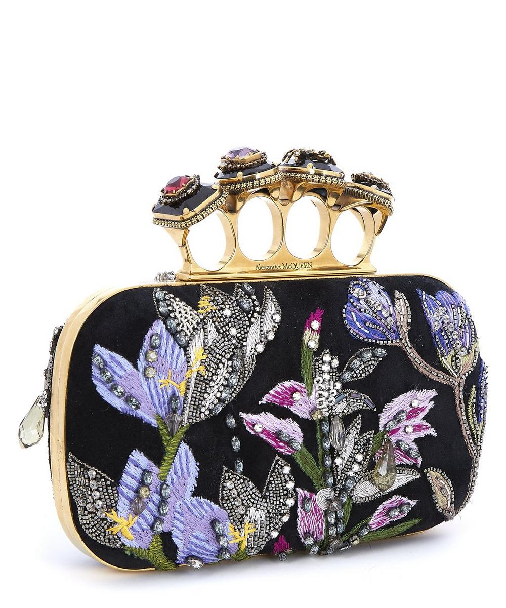 Spider Jewelled Four Ring Suede Clutch Bag