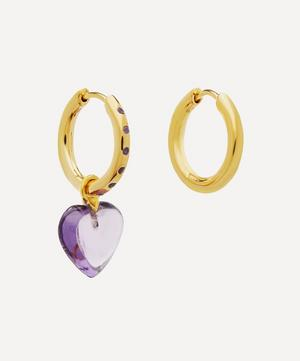 Gold-Plated Amethyst Heart Mismatched Hoop Earrings