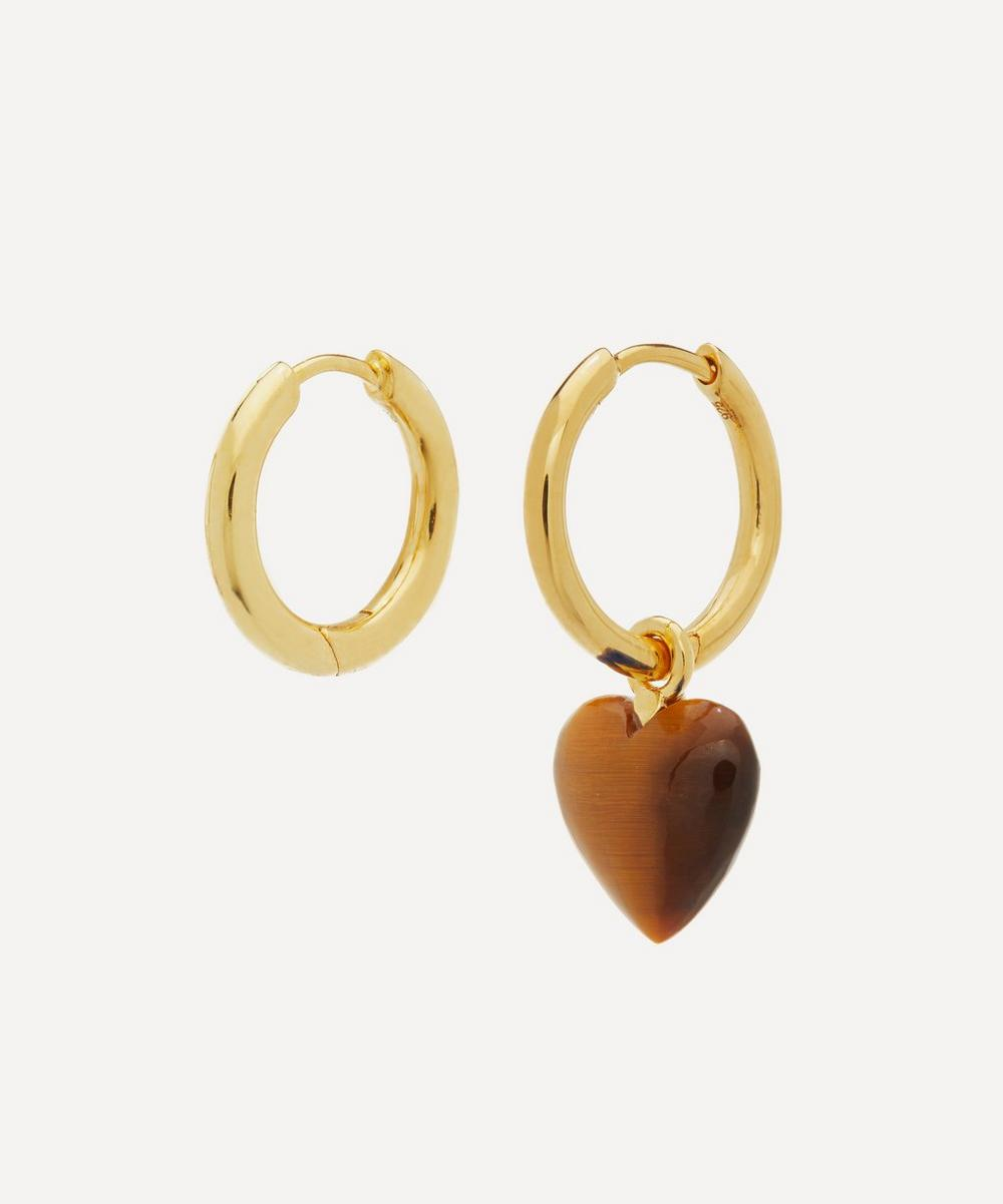 Gold-Plated Tiger's Eye Heart Mismatched Hoop Earrings