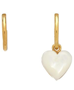 Gold-Plated Mother of Pearl Heart Mismatched Hoop Earrings