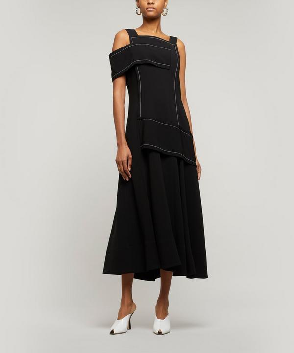 Asymmetric Crepe Midi-Dress
