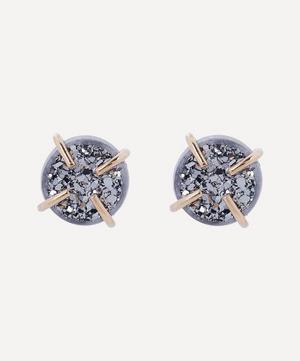 Gold Silver Mist Druzy Stud Earrings