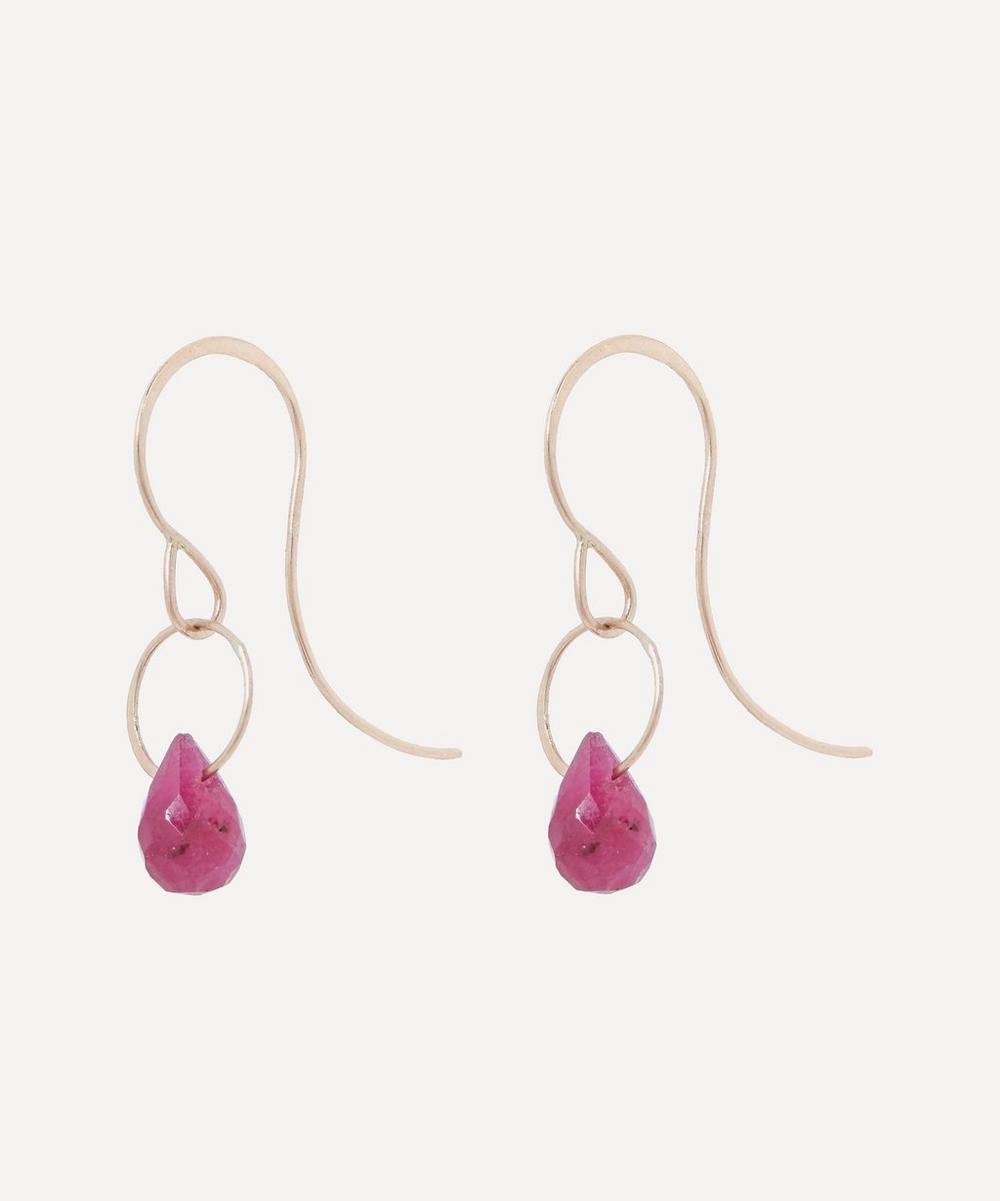 Gold Ruby Single Drop Earrings