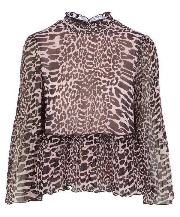 Pleated Georgette Flare-Sleeve Top