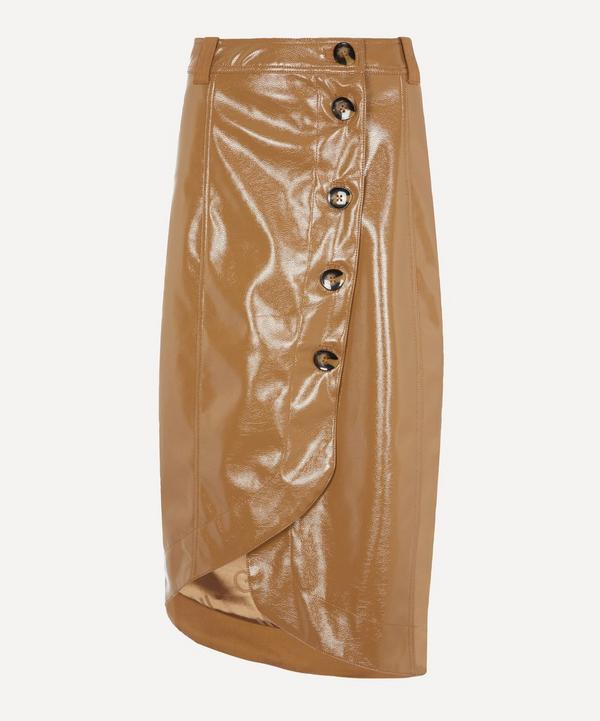 Patent Button-Up Midi-Skirt