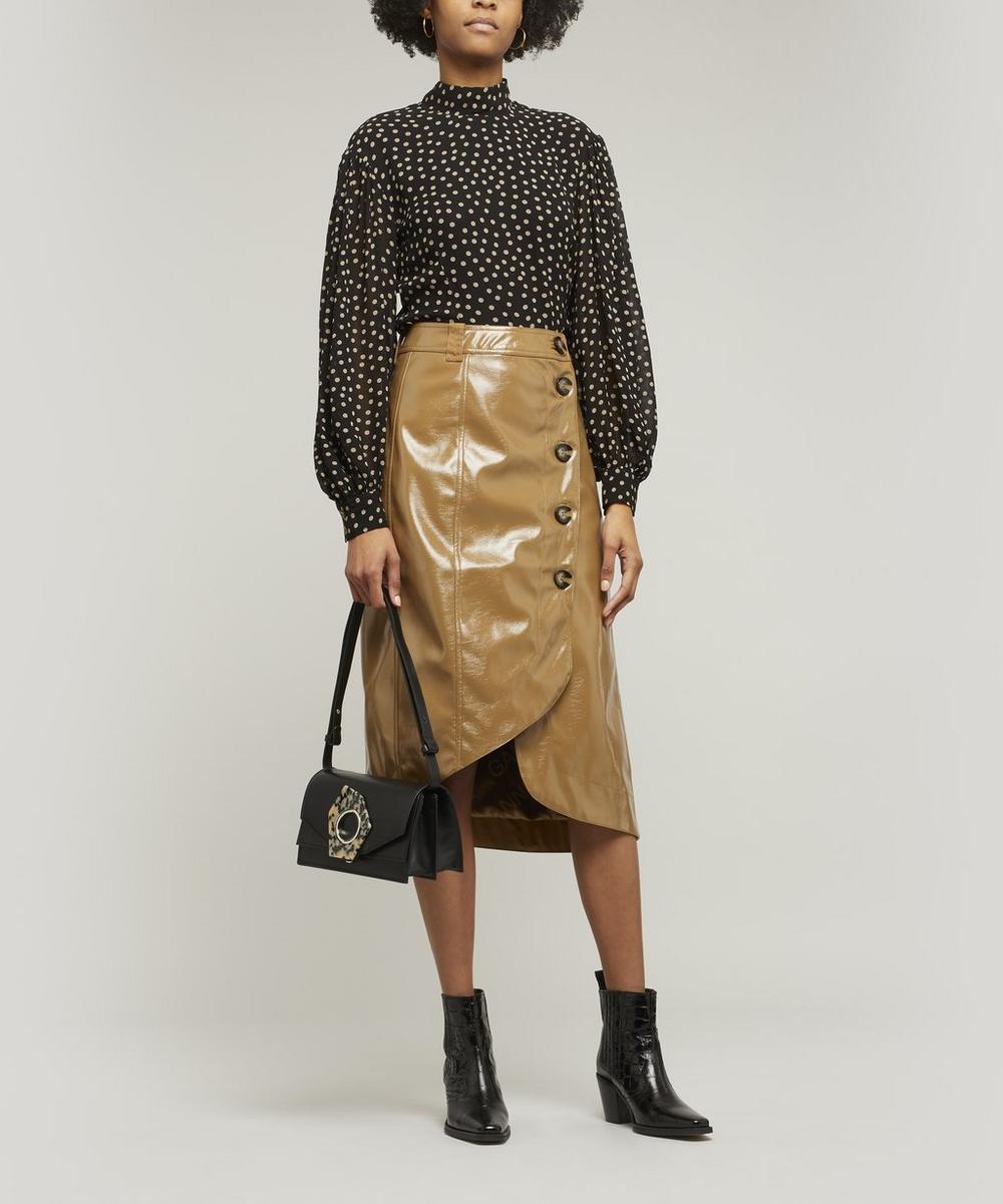 Patent Button-Up Midi-Skirt