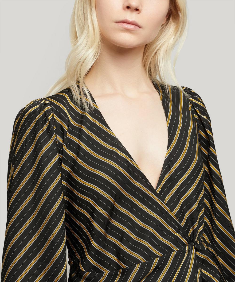 Striped Wrap Midi-Dress