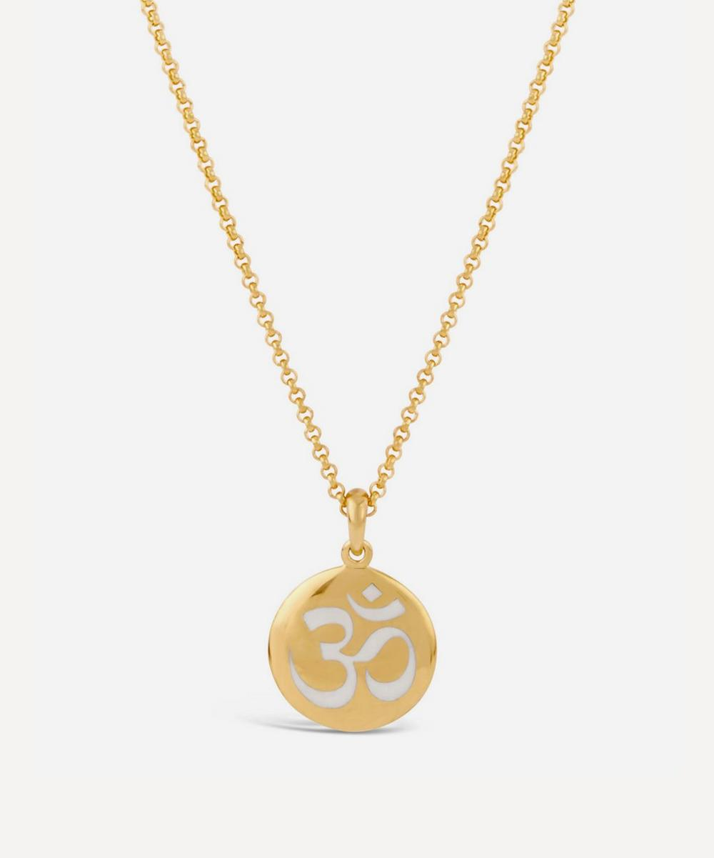 Gold Vermeil Ohm Enamel Disc Pendant Necklace
