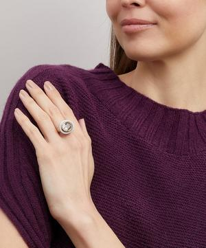 Gold Silver Tile Oval Morganite Ring