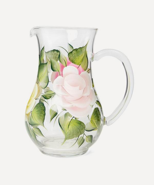 Large Hand-Painted Rose Jug