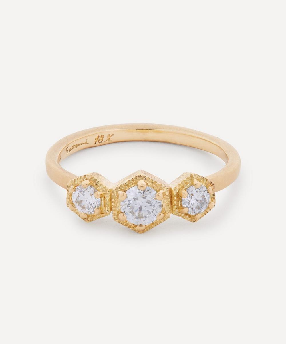 Satomi Kawakita - 18ct Gold White Diamond Triple Hexagon Ring