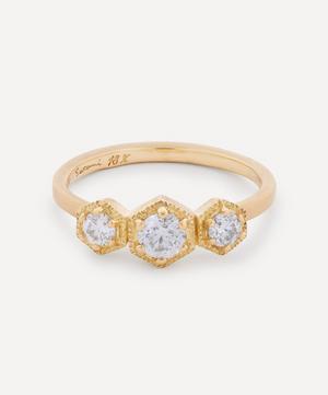 18ct Gold White Diamond Triple Hexagon Ring